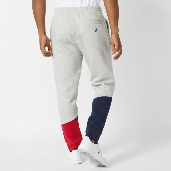 COLORBLOCK FLEECE JOGGERS,Grey Heather,large