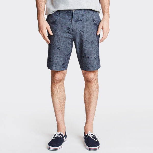 "8.5"" Slim Fit Chambray Short in Nautical Print - Sinker Blue Denim Wash"