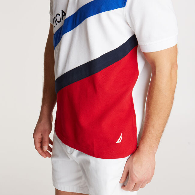 Classic Fit Performance Polo in Diagonal Colorblock,Bright White,large