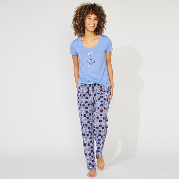 ANCHOR AND KALEIDOSCOPE PRINT SHORT SLEEVE PAJAMA SET - Pure Adriatic Sea Wash