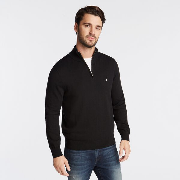 QUARTER ZIP NAVTECH SWEATER - True Black