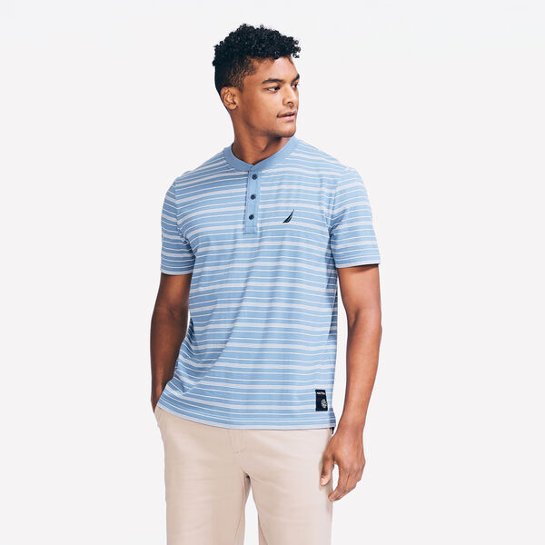 SUSTAINABLY CRAFTED STRIPED SHORT SLEEVE HENLEY - Star Sapphire