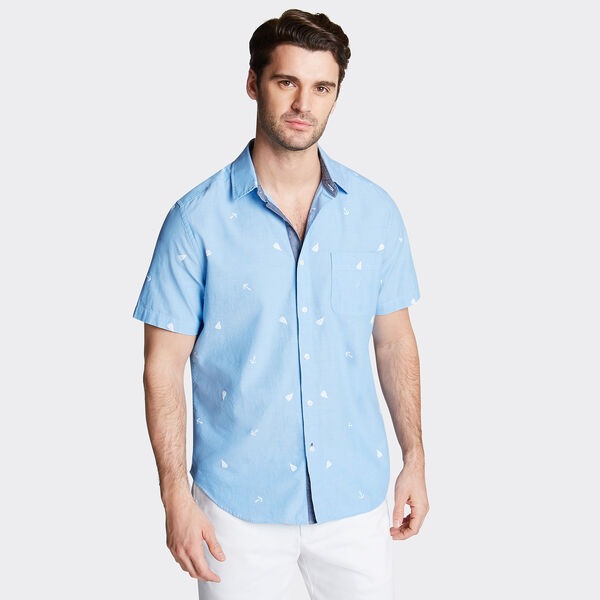 CLASSIC FIT SHORT SLEEVE CHAMBRAY SHIRT IN PRINT - Washed Navy Heather