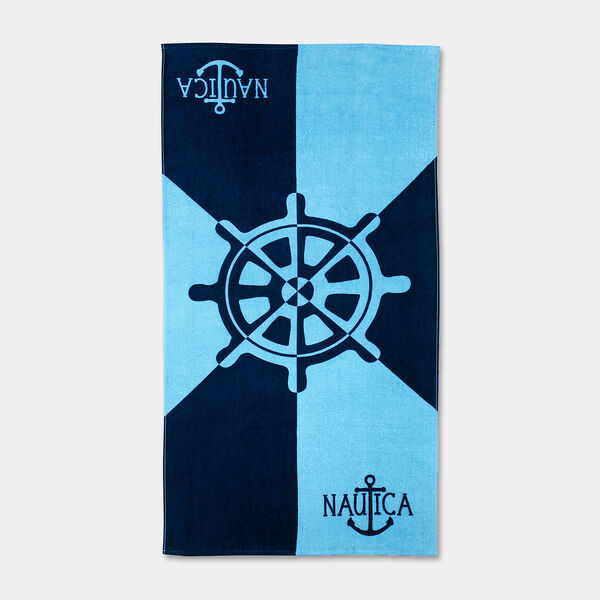 KIDS' BOAT WHEEL PRINT BEACH TOWEL - Navy