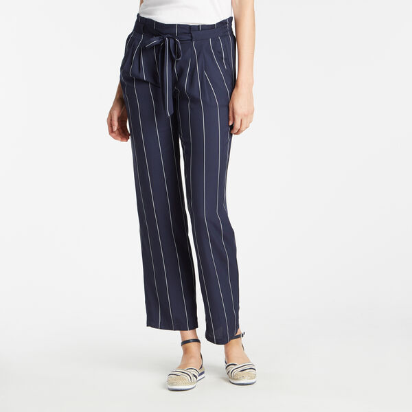 FULL LENGTH PLEATED WAISTBAND DELIVERY STRIPE PANT IN NAVY SEAS - Stellar Blue Heather