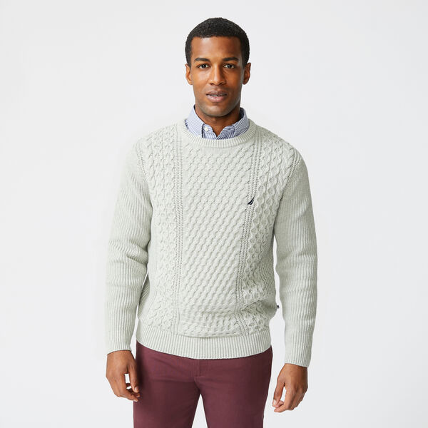 CLASSIC FIT CABLE KNIT SWEATER - Grey Heather