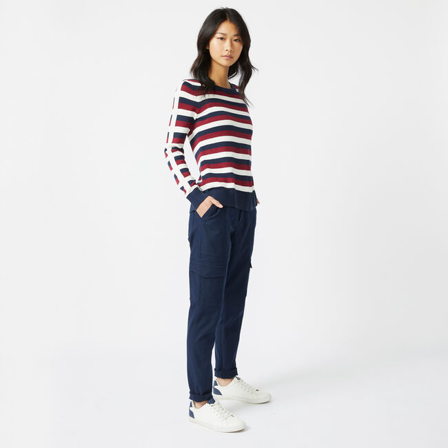 SUSTAINABLY CRAFTED STRIPED KNIT SWEATER,Marshmallow,large