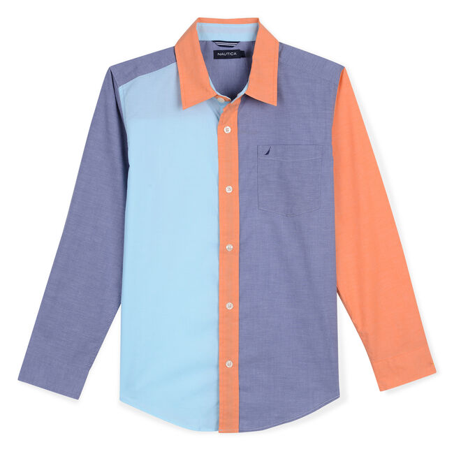 Little Boys' Makana Woven Shirt in Colorblock (4-7),Oyster Bay Blue,large