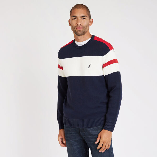 Big & Tall Challenger Crewneck Stripe Sweater - Navy