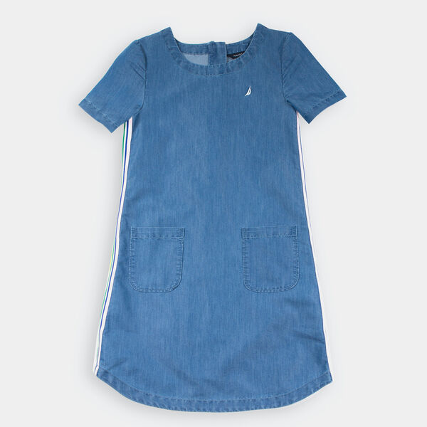 GIRLS' CHAMBRAY SHIFT DRESS (8-20) - Light Tide Water Wash