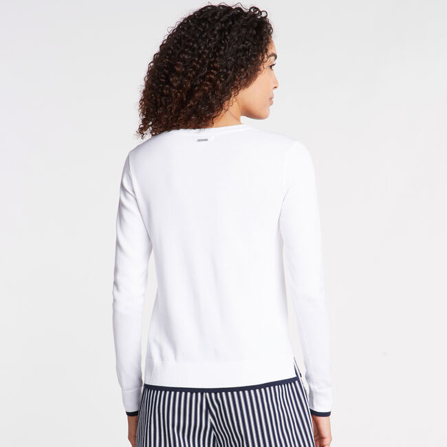 COTTON & MODAL SWEATER IN INTARSIA ANCHOR,Bright White,large