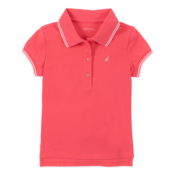 LITTLE GIRLS' CONTRAST TRIM POLO (4-7) - Light Pink