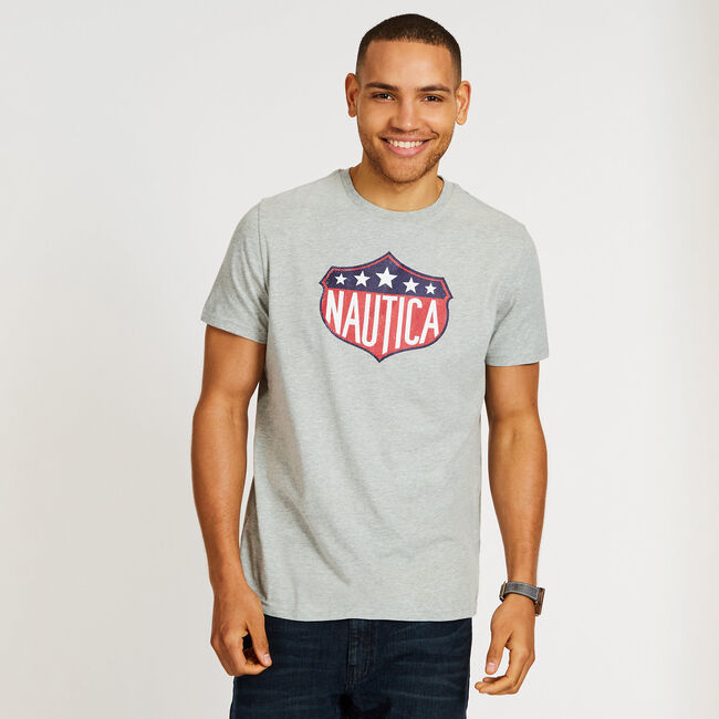 LOGO CREST GRAPHIC T-SHIRT,Grey Heather,large