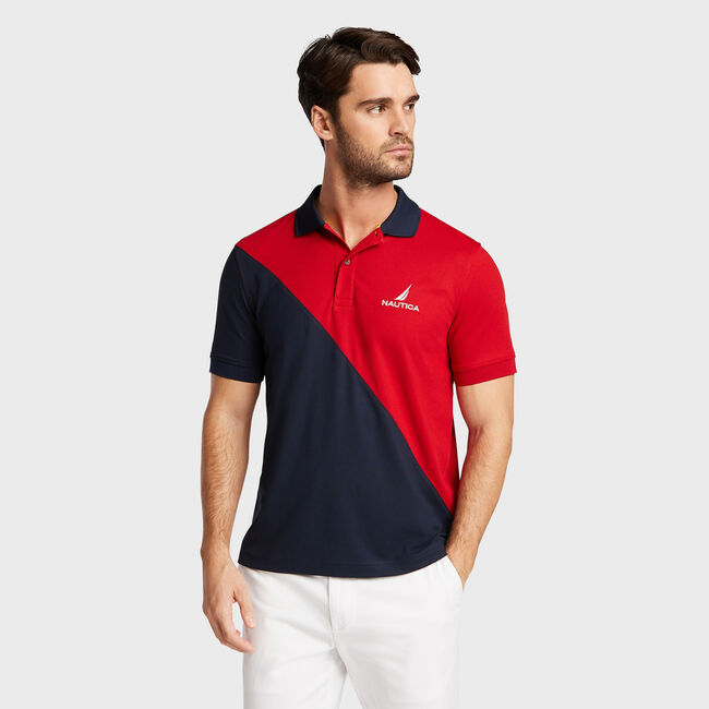 Big & Tall Navtech Classic Fit Diagonal Colorblock Polo,Nautica Red,large