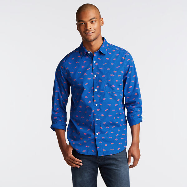 CLASSIC FIT POPLIN SHIRT IN NAVY FISH PRINT - Clear Sky Blue