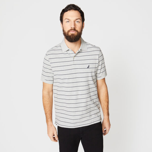 Classic Fit Mesh Polo in Breton Stripe - Grey Heather