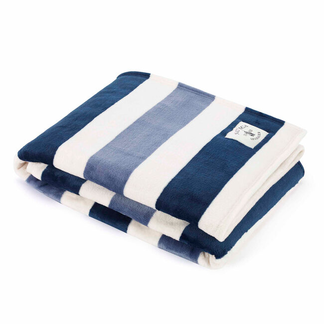 Awning Stripe Throw Blanket,Ice Blue,large