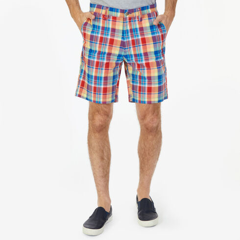 "Classic Fit Plaid Walking Shorts - 8.5"" Inseam - Monaco Blue"