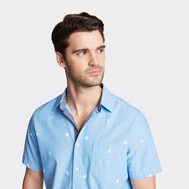 CLASSIC FIT SHORT SLEEVE CHAMBRAY SHIRT IN PRINT,Azure Blue,large
