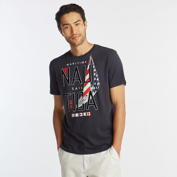 MARITIME SAIL GRAPHIC T-SHIRT - Navy