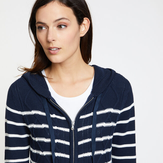 Striped Cable-Knit Long Sleeve Hoodie,Deep Sea,large