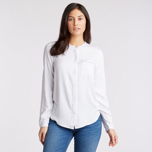 Topstitched Classic Fit Blouse - Bright White
