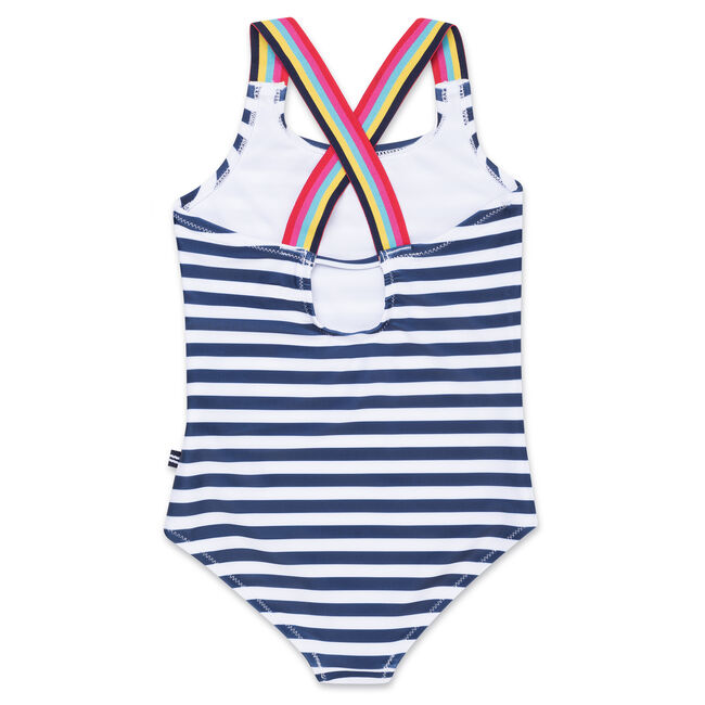 Girls' Logo One-Piece Swimsuit in Stripe,Navy,large