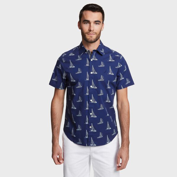 Big & Tall Sailboat Print Classic Fit Stretch Poplin Shirt - Blue Depths