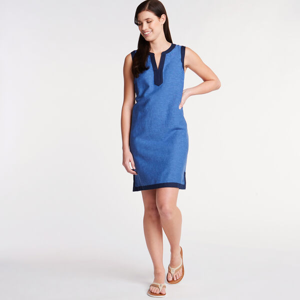 4d9daf31c95d Sleeveless Chambray A-Line Dress