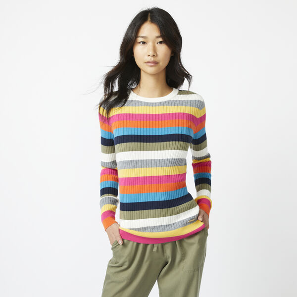 SUSTAINABLY CRAFTED MULTICOLOR STRIPE RIB-KNIT SWEATER - Marshmallow