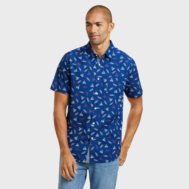 MARITIME ICON SHORT SLEEVE CLASSIC FIT SHIRT IN NAVY,Blue Depths,large