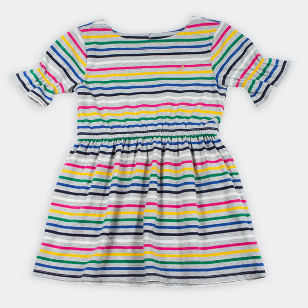 TODDLER GIRLS' STRIPED BELL SLEEVE JERSEY DRESS (2T-4T) - Grey Heather
