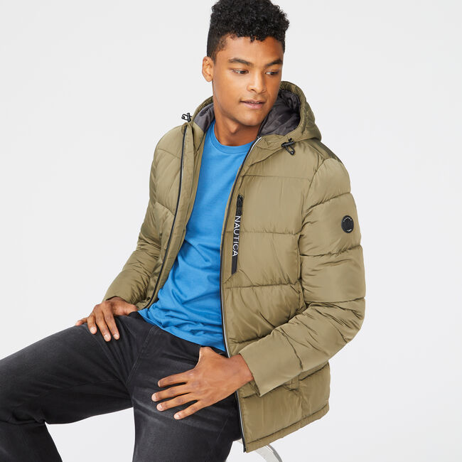 HOODED JACKET,Olive,large