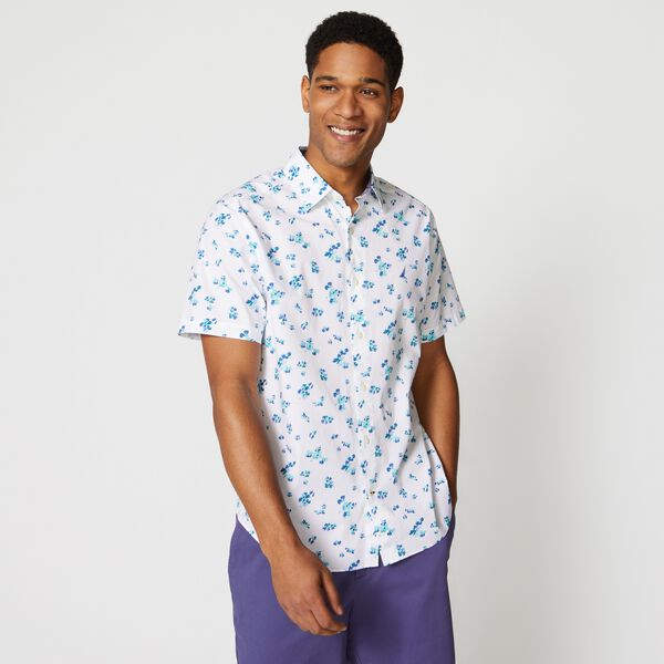 FLORAL PRINT PREMIUM COTTON SHORT SLEEVE SHIRT - Bright White