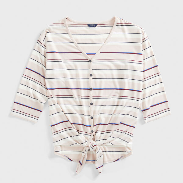 STRIPE TIE-WAIST BUTTON-DOWN TOP - New Pink