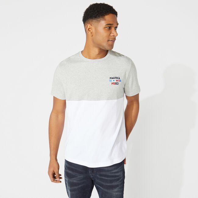 COLORBLOCK LOGO TEE,Grey Heather,large