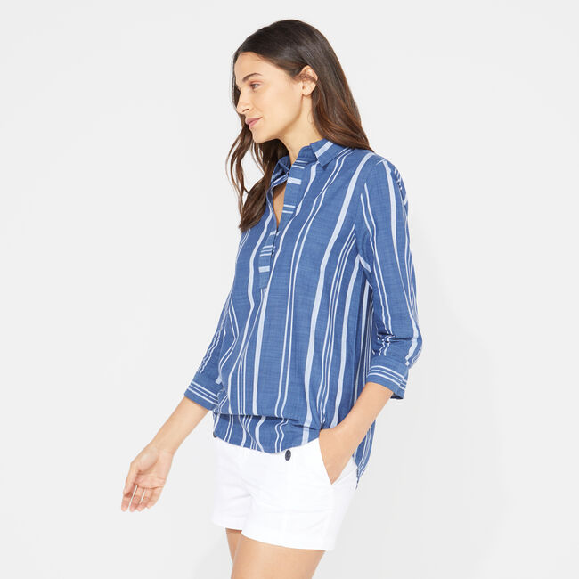 THREE-QUARTER SLEEVE STRIPE POPOVER SHIRT,J Navy,large