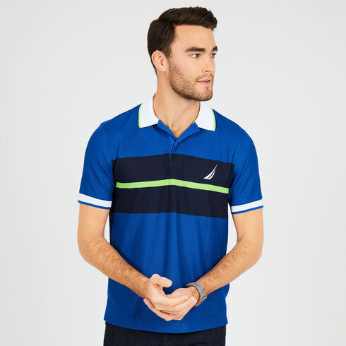 Short Sleeve Classic Fit Tech Chest Stripe Polo - Monaco Blue