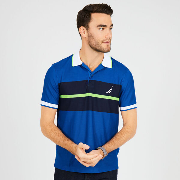 Classic Fit Tech Chest Stripe Polo - Monaco Blue