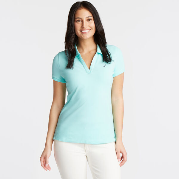 Split-Neck Classic Fit Polo Shirt - Capri Blue