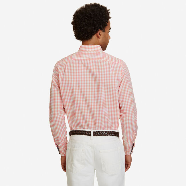 Big & Tall Poplin Gingham Classic Fit Button Down,Pale Coral,large
