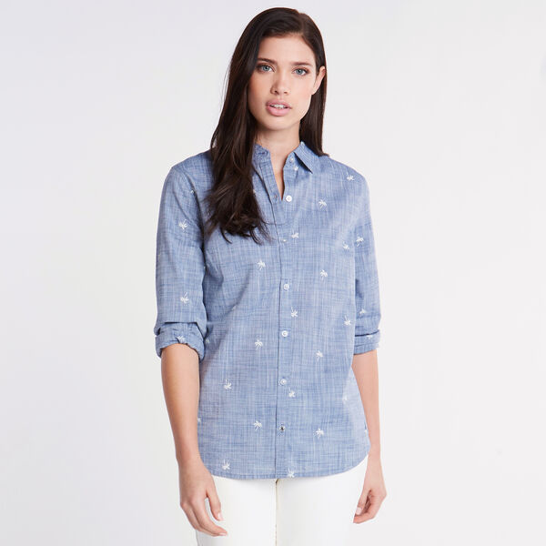 Classic Fit Chambray Shirt in Palm Print - Estate Blue