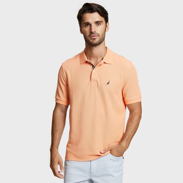 Classic Fit Solid Mesh Polo Shirt - Orange