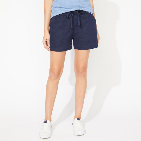 LINEN-BLEND SHORTS - Stellar Blue Heather