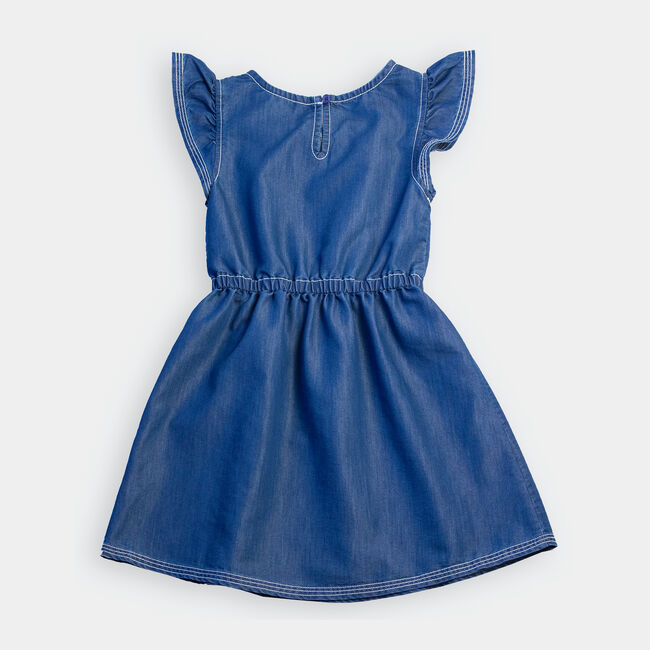 GIRLS' CHAMBRAY FLUTTER SLEEVE DRESS (8-20),Clear Sky Blue,large