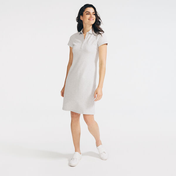 KNIT POLO DRESS - Haze Grey Heather