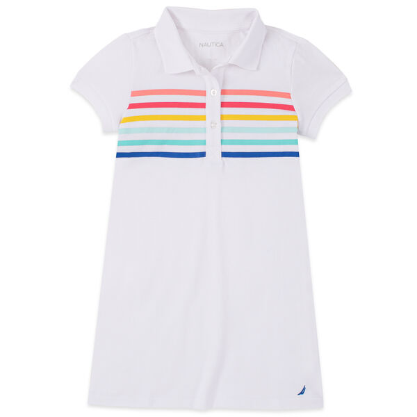 TODDLER GIRLS' MULTICOLOR STRIPED POLO DRESS (2T-4T) - Antique White Wash