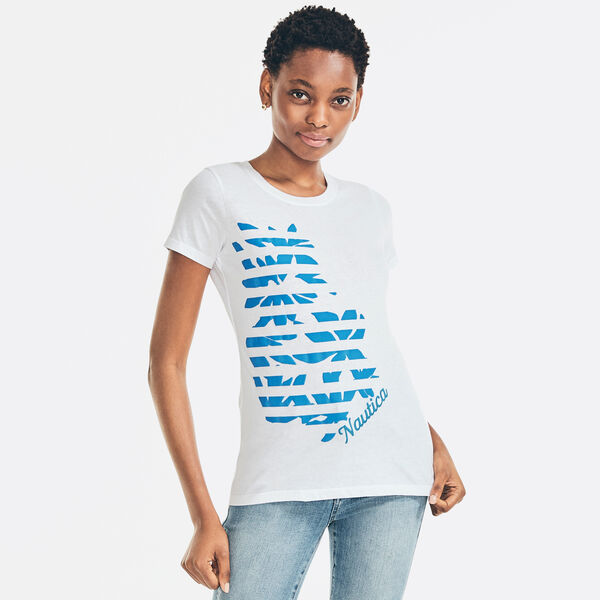 STRIPED FLORAL SUEDED LOGO T-SHIRT - Bright White