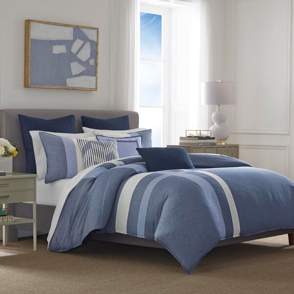 Waterbury Navy King Duvet & Sham Set - Navy