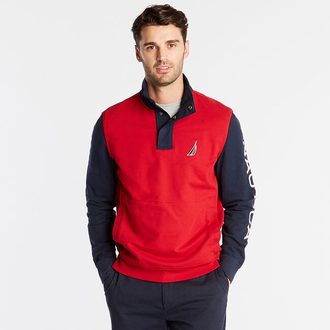 Snap Placket French Terry Pullover,Nautica Red,large